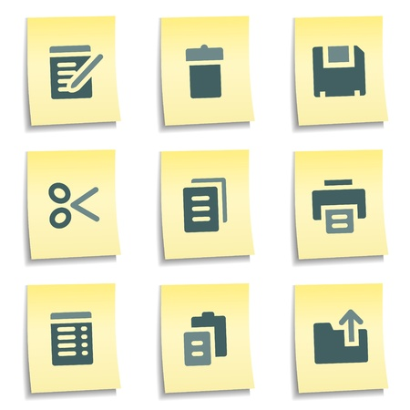 Document web icons,  yellow notes series Vector