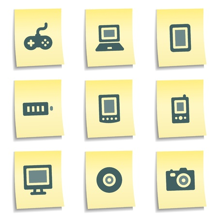 Electronics web icons,  yellow notes series Stock Vector - 8768410
