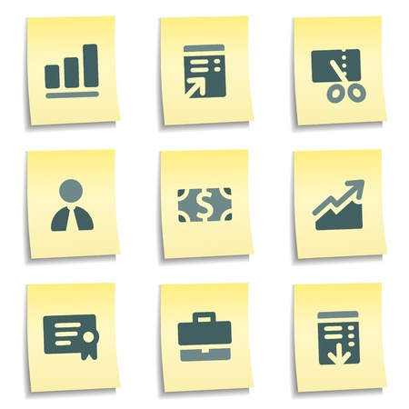 Finance web icons set 1,  yellow notes series Vector