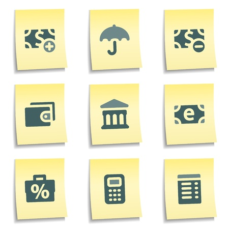 Finance web icons set 2,  yellow notes series Vector