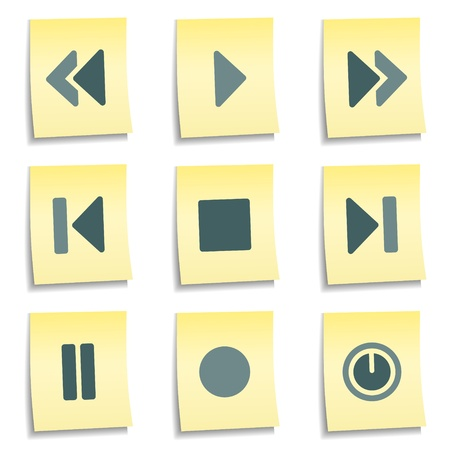 play button: Player buttons web icons,  yellow notes series