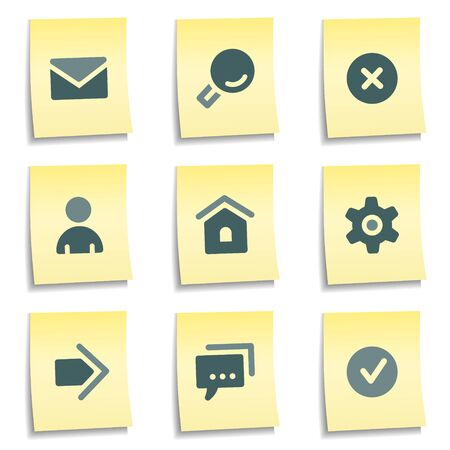 Basic web icons,  yellow notes series Stock Vector - 8768408