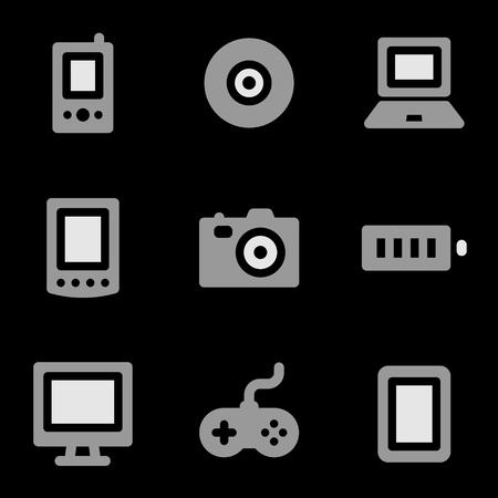 Electronics web icons, grayscale series Stock Vector - 8768104