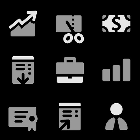 Finance web icons, grayscale series Vector