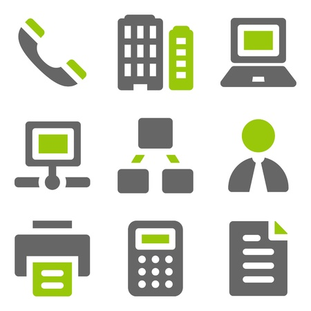 Office web icons, green grey solid icons Vector