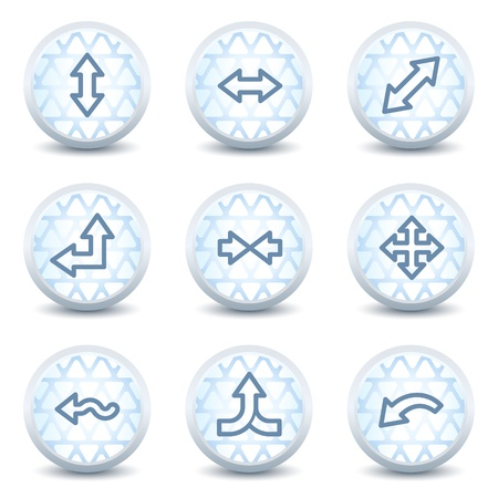 Arrows web icons set 2, glossy circle buttons Vector