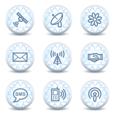 access point: Communication web icons, glossy circle buttons