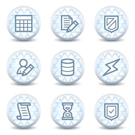 Database web icons, glossy circle buttons Vector