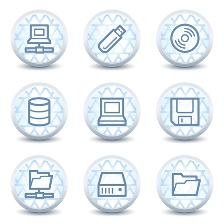 Drives and storage web icons, glossy circle buttons Stock Vector - 8847278