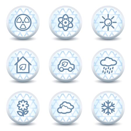 Ecology web icons set 2, glossy circle buttons Vector