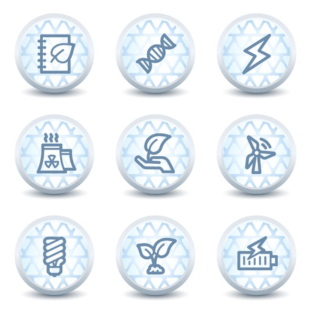 Ecology web icons set 5, glossy circle buttons Vector