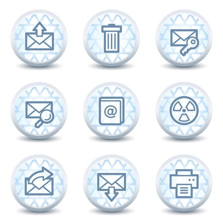E-mail web icons set 2, glossy circle  buttons Vector