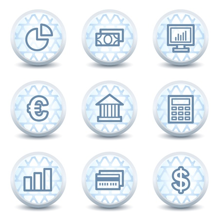 calc: Finance web icons set 1, glossy circle buttons Illustration