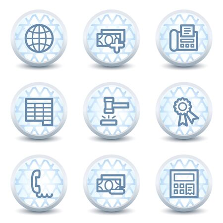 Finance web icons set 2, glossy circle buttons Vector