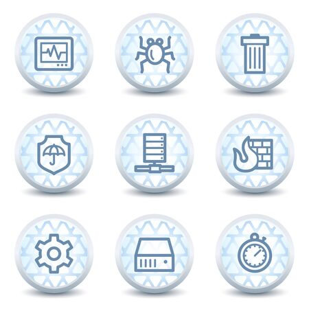 Internet security web icons, glossy circle buttons Vector