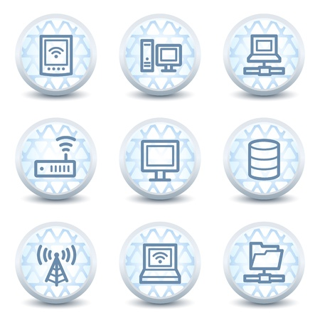 access point: Network web icons , glossy circle buttons