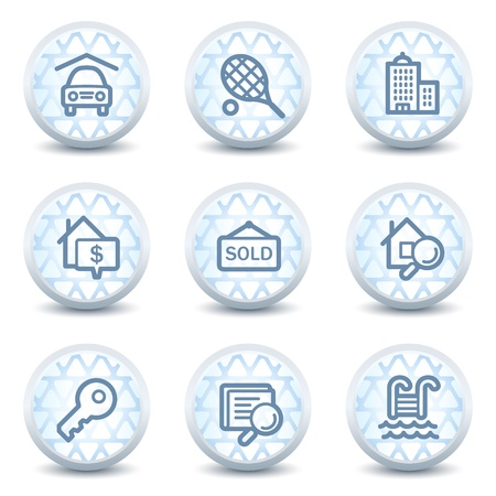 Real estate web icons, glossy circle buttons Vector