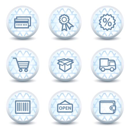 Shopping web icons set 2, glossy circle buttons Vector