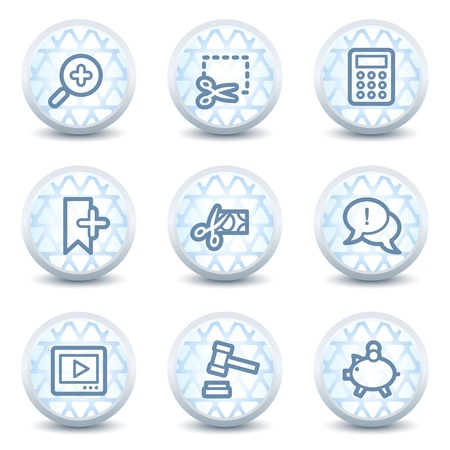 Shopping web icons set 3, glossy circle buttons Vector