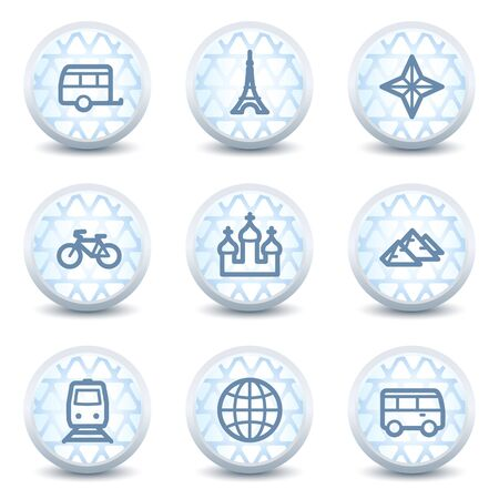Travel web icons set 2, glossy circle buttons Vector