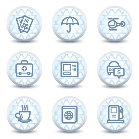 Travel web icons set 4, glossy circle buttons Vector