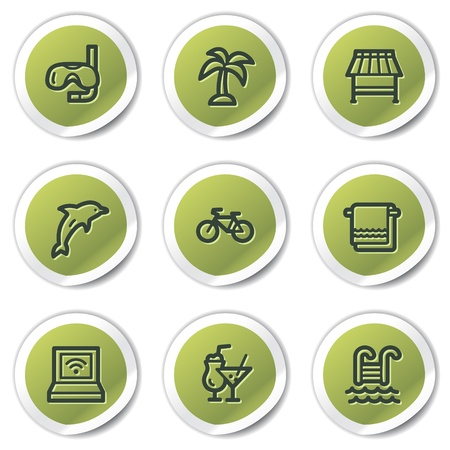 Vacation web icons, green circle stickers Stock Vector - 9329793