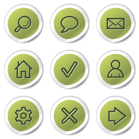 Basic web icons, green circle stickers Stock Vector - 9329765