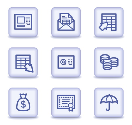 Banking web icons, light violet glossy buttons Vector