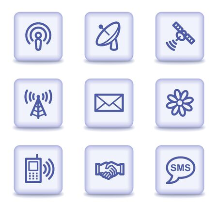 Communication web icons, light violet glossy buttons Vector