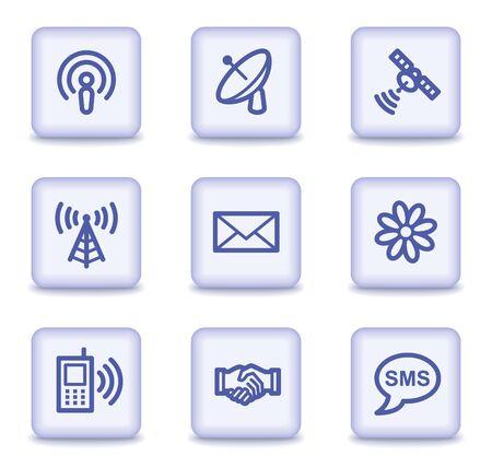 wifi access: Icone di comunicazione web, luce viola lucido pulsanti