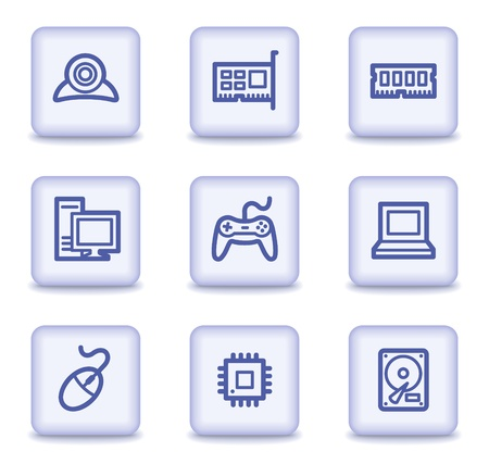 nettop: Computer web icons, light violet glossy buttons