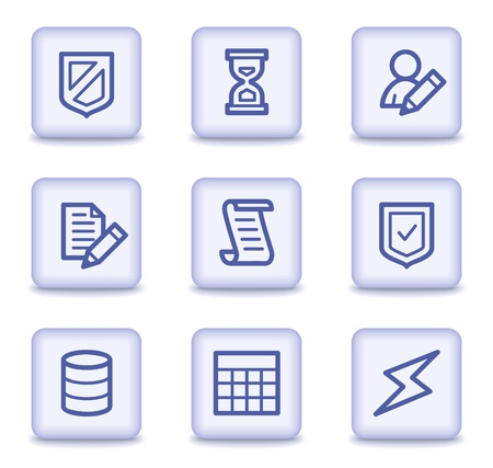 Database web icons, light violet glossy buttons Vector