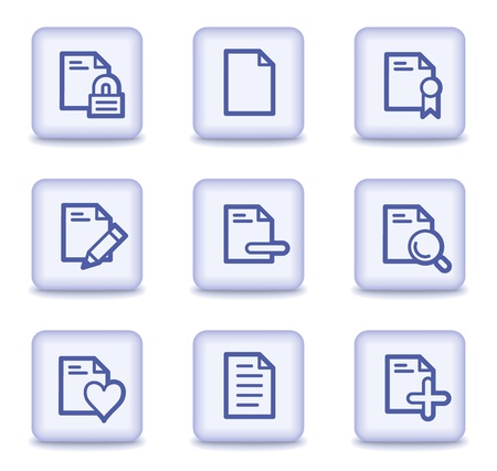 Document web icons set 2, light violet glossy buttons Vector