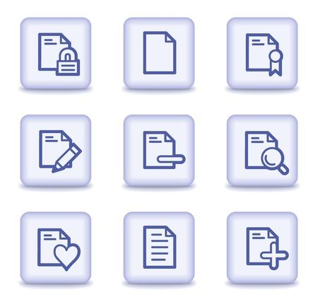 Documento de conjunto de iconos de web 2, luz violeta botones brillante Ilustración de vector