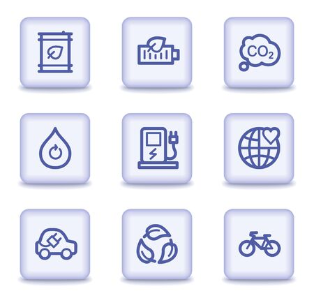 electro world: Ecology web icons set 4, light violet glossy buttons