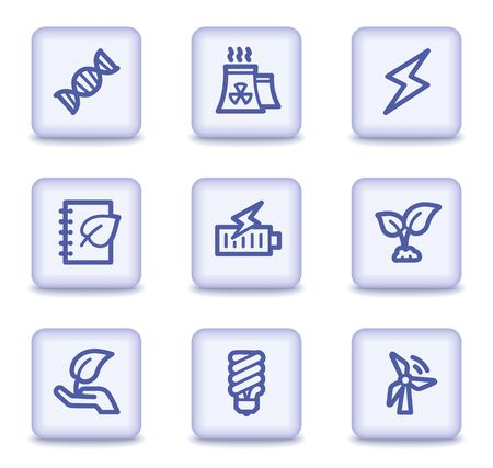 Ecology web icons set 5, light violet glossy buttons Vector