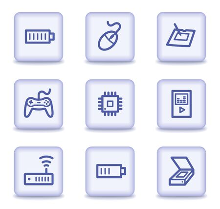 Electronics web icons set 2, light violet glossy buttons Vector