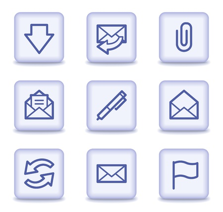 E-mail web icons,  light violet glossy buttons Stock Vector - 9323930