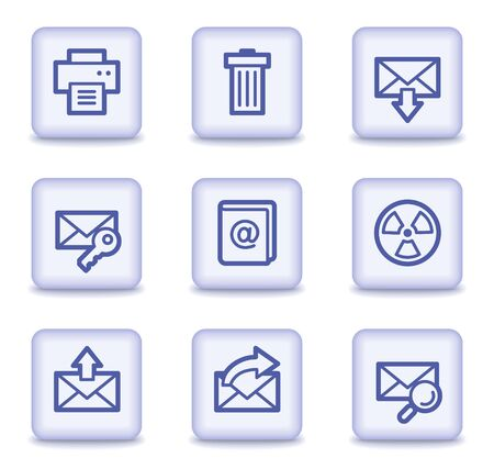 E-mail web icons set 2, light violet glossy buttons Stock Vector - 9323976