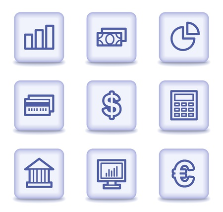 Finance web icons set 1, light violet glossy buttons Stock Vector - 9324051