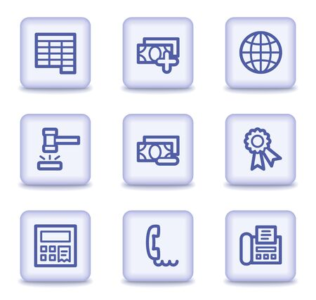 Finance web icons set 2, light violet glossy buttons Stock Vector - 9324029