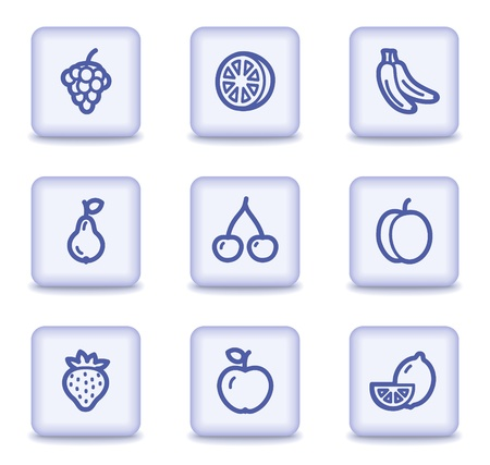 Fruits web icons, light violet glossy buttons Vector