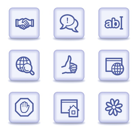Internet web icons set 1, light violet glossy buttons
