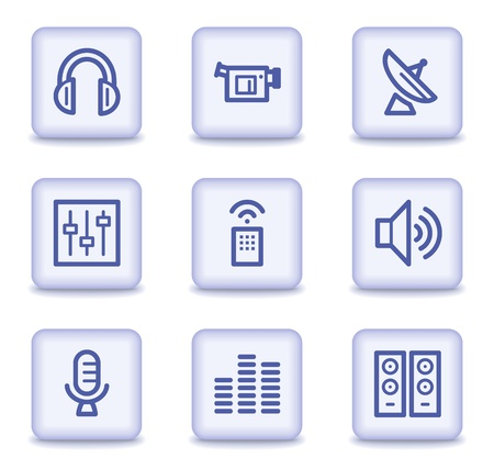 Media web icons, light violet glossy buttons Stock Vector - 9323985