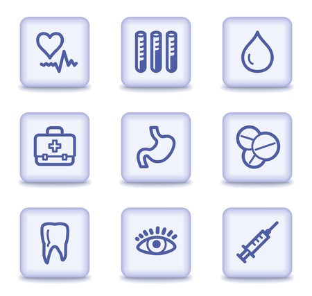 blood bag: Medicine web icons set 1, light violet glossy buttons Illustration