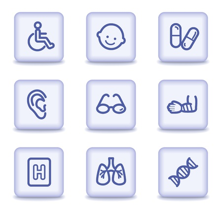 Medicine web icons set 2, light violet glossy buttons Vector