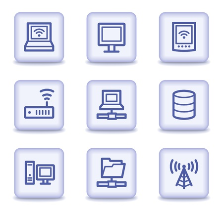 Network web icons, light violet glossy buttons Vector