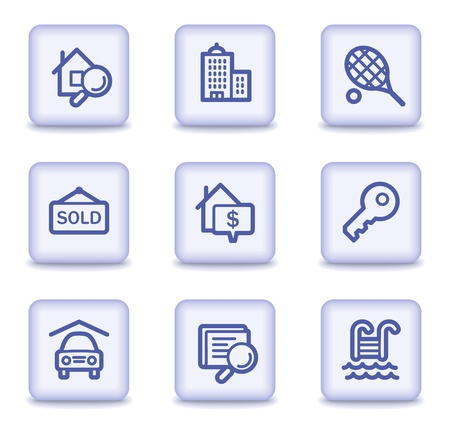 swimming pool home: Real estate web icons, light violet glossy buttons