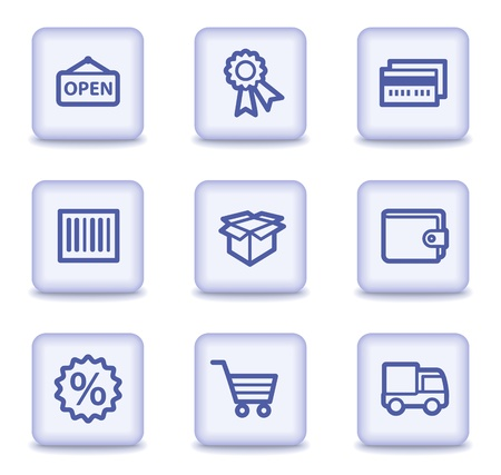 billfold: Shopping web icons set 2, light violet glossy buttons