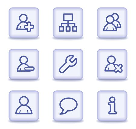 feedback link: Users web icons, light violet glossy buttons Illustration